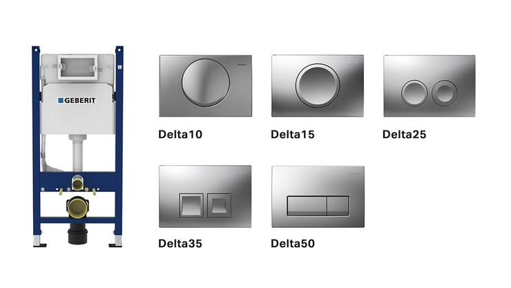 Geberit Delta cisterns and actuator plates