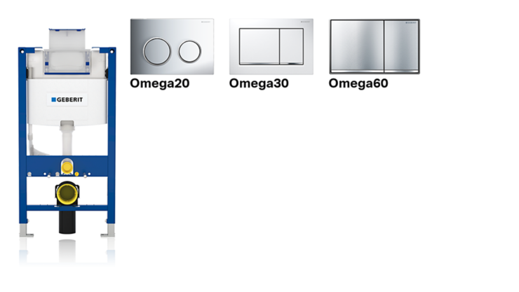 Geberit Omega cisterns and actuator plates